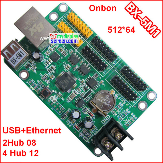 onbon BX 5M1 controller, usb + ethernet port, 512*64,support  HUB12+hub08,use for monochrome,bi color p10 led module control-in LED  Displays from