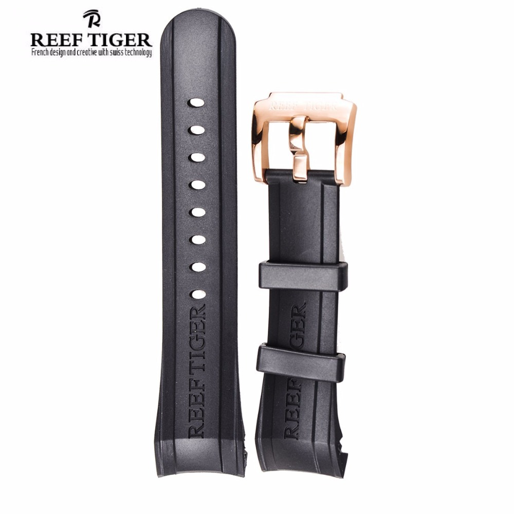 Reef Tiger/RT Watch Band 29 CM Black Rubber Watch Strap with Tang Buckle for Aurora Concept and Transformer Watch 2x yongnuo yn600ex rt yn e3 rt master flash speedlite for canon rt radio trigger system st e3 rt 600ex rt 5d3 7d 6d 70d 60d 5d