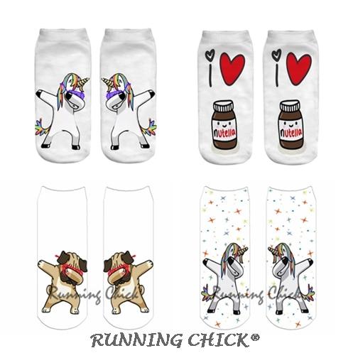 RUNNING CHICK Dab Unicorn Print Ankle Socks Children Wholesales