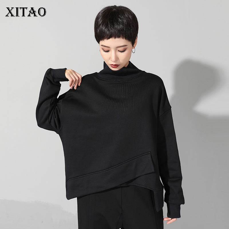 [XITAO] 2019 Spring New Women Fshion Casual Loog Sleeve Solid Color Top Female Loose Stand Vintage Irregular T-shirt LYH2720