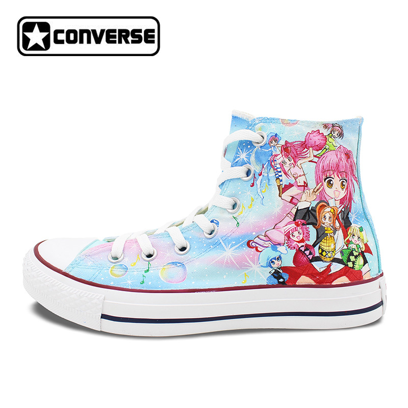 Sneakers Women Men Converse All Star Girls Boys Shoes Anime Shugo Chara Design Hand Painted Shoes Cosplay Unique Gifts glowing sneakers usb charging shoes lights up colorful led kids luminous sneakers glowing sneakers black led shoes for boys