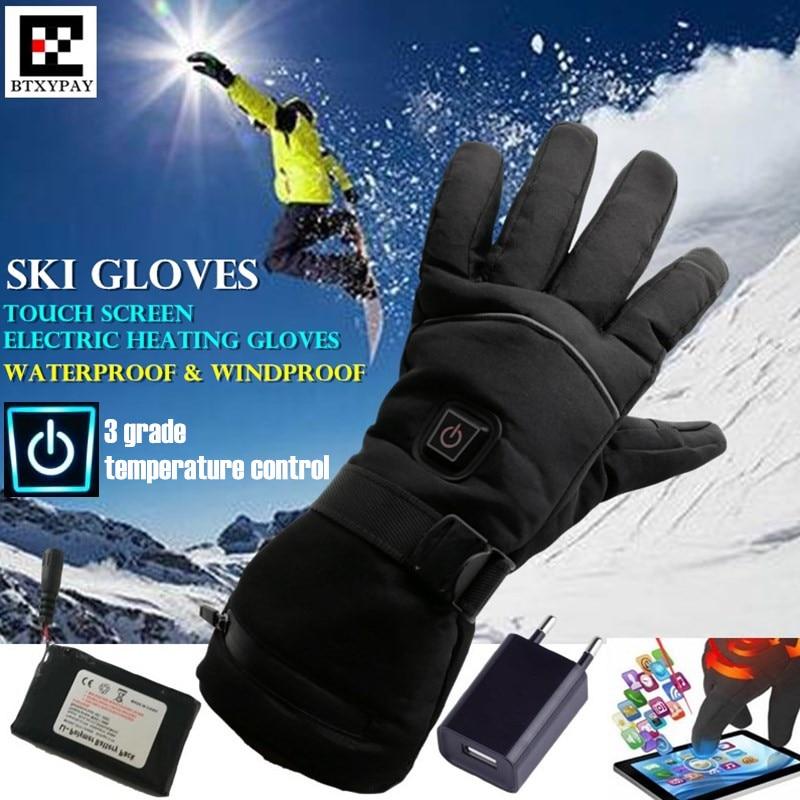 30p Smart Electric Heating Gloves Winter Warm Windproof Li-Battery 5 Finger&Hand Back Self Heated Touch Screen Cycling Ski Glove