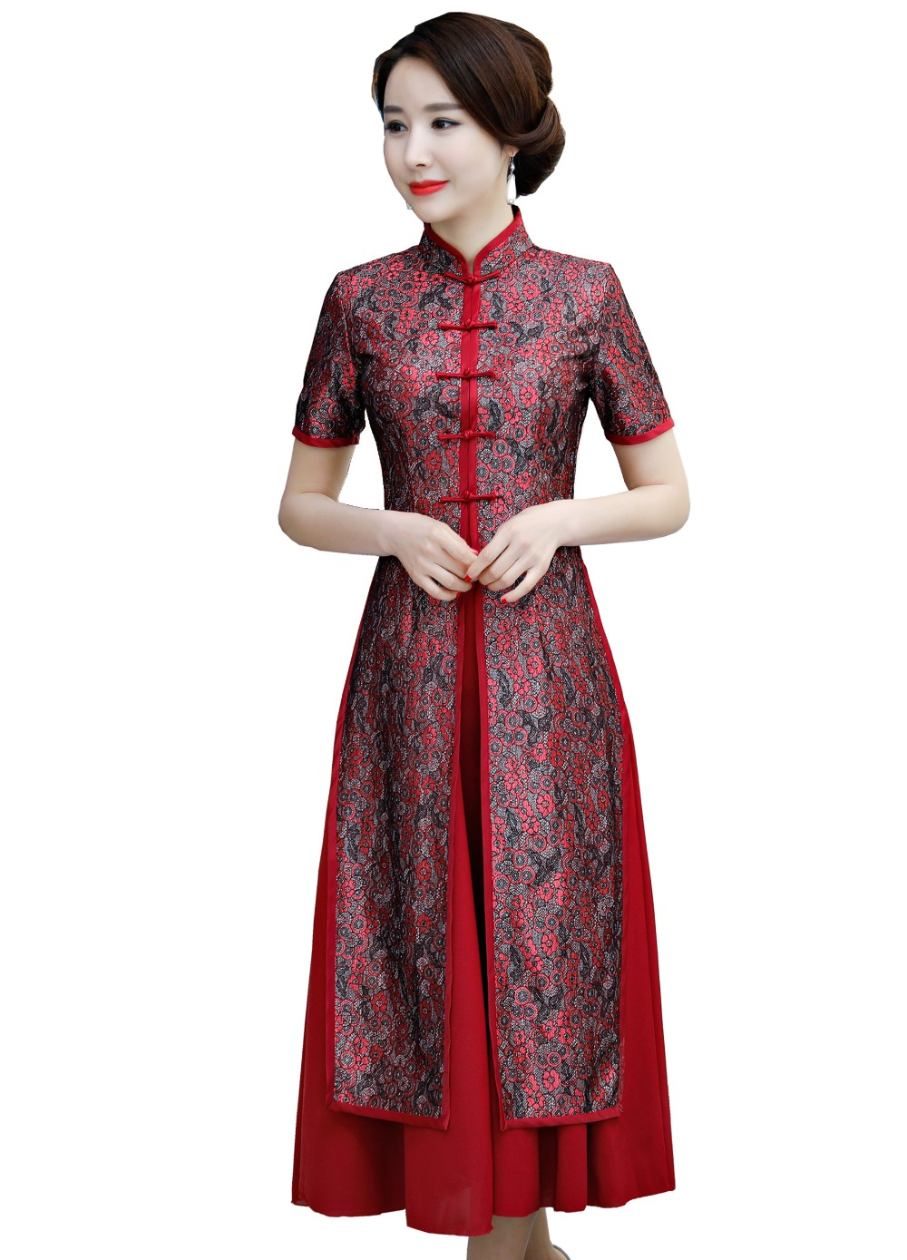 f344bb72e Shanghai Story 2019 2 Pieces Set Qipao Long Chinese Dress Chiffon Oriental  style dress Short Sleeve