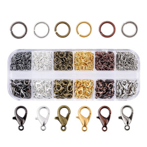 1 Box Assorted Mixed Color Jewelry DIY Making Findings 120pcs 12x7x3mm Alloy Lobster Claw Clasps 30g 5x0.6mm Iron Jump Rings F80