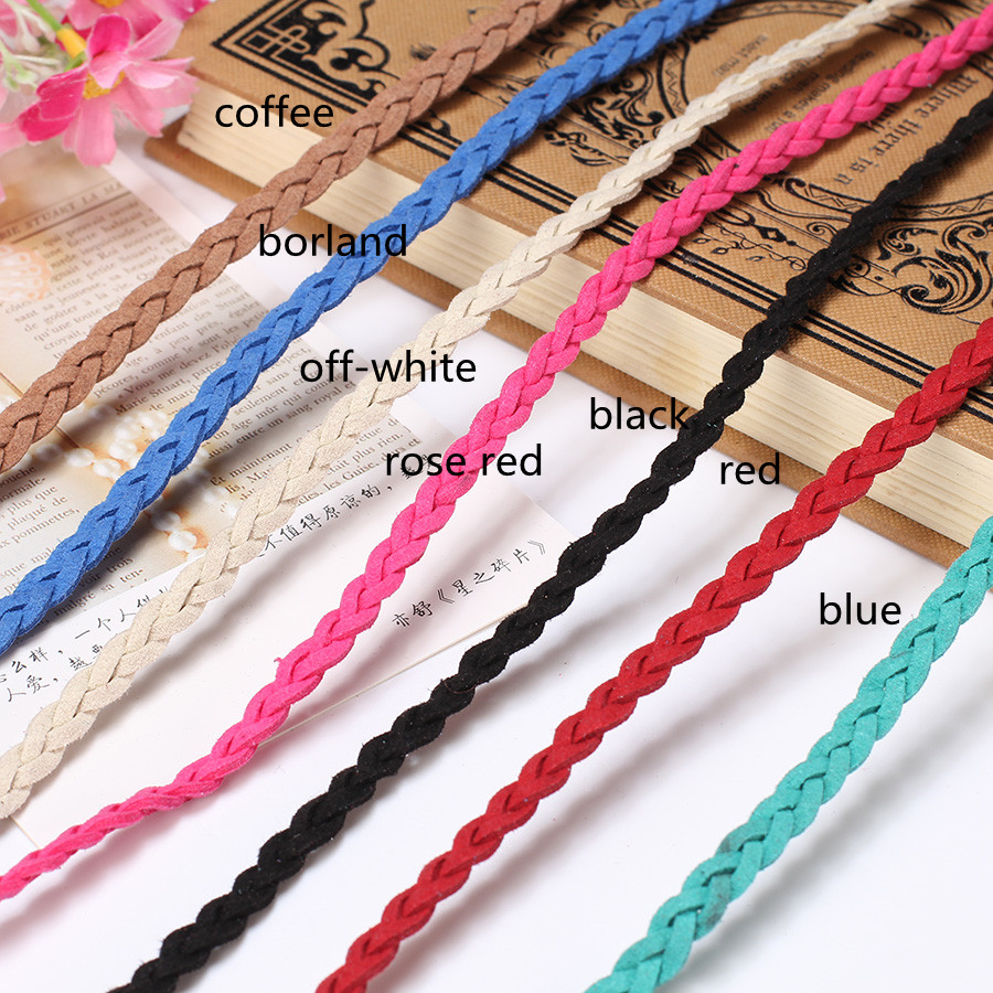 5m/lot Flat Braided Cord Leather Braiding Rope Thread String Diy Making  Bracelet Necklace Jewelry Faux Suede Woven Cords Finding