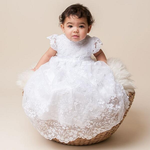 e4e81d0142e06 US $89.88 |2017 Stunning Lolita Infant Toddler Christening Dress Baptism  Gown Baby Girl Boy Lace WITH BONNET Dress 0 24month-in Dresses from Mother  & ...