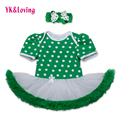St Patricks Day Girls Cotton Dress Romper Ruffle Jumpsuit Tutu Dress Green Newborn Clothes Set for St.Patrick's Day Party RD143S