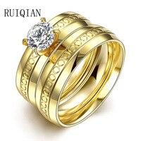 Moda Titanium Stalowa Pierścień Dwukrotnie Złoty Pierścionek zaręczynowy Dla Kobiet Anel Feminino Cyrkon Nie Blaknięcie Przeciw Alergii Pierścienie RUIER150