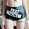 Sexy Leather Shorts 2017 New Nightclub Ladies Black Tall Waist Letters Short Feminino  Casual Big Size Shorts Lederhosen