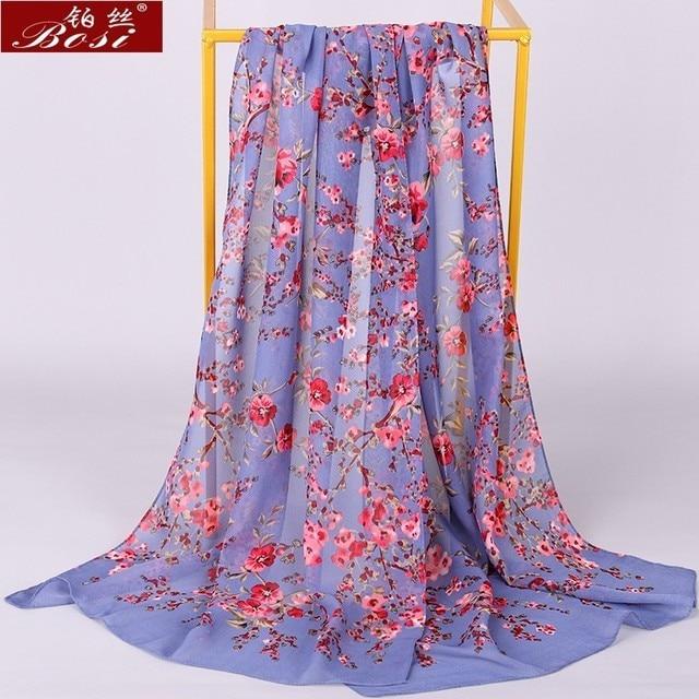 Chiffon scarf winter shawl schal scarves poncho women scarfs ethnic big flower hijab  scarfs luxury ladies retro schal160*60 new 4