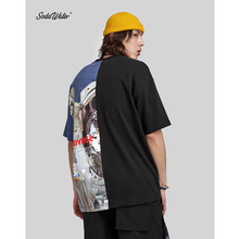 الصودا المياه المتضخم تي شيرت مطبوع أعلى العلامة التجارية ملابس الرجال قصيرة الأكمام التي شيرت الشارع الشهير الهيب هوب فضفاضة قطنية عالية الجودة تيز 91218S