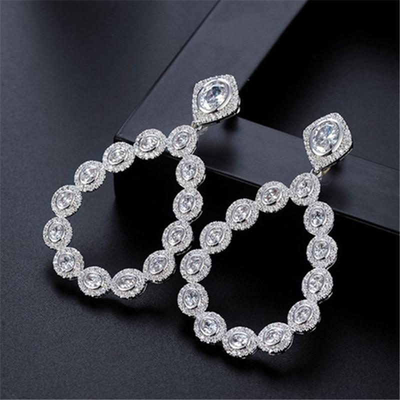 Hot sale Women earrings,Fashion AAA cubic zirconia exaggerated drop earrings,womens accessaries, E6447