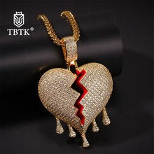 TBTK New Iced Out Broken Heart Water Drop Pendant Copper Zirconia Luxury Jewelry Punk Charms Mens Necklace Gold Chain Classic classic heart pendant