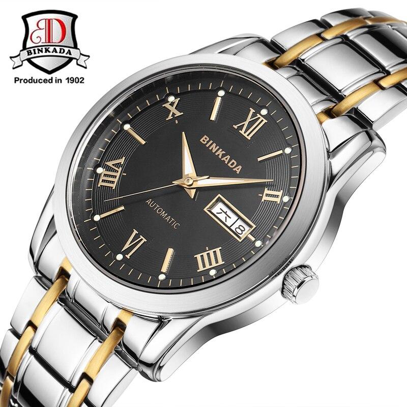 цена на 2017 NEW Fashion Men BINKADA Top Brand Gold Luxury Wristwatches Self wind Automatic Mechanical Calendar Leather Watch Clock