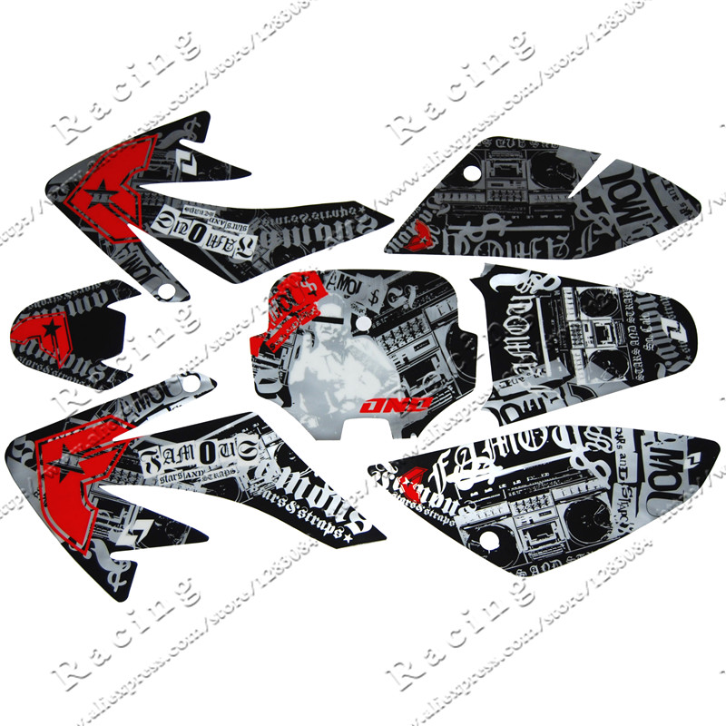 CRF 70 GRAPHICS KIT CRF70 DECO DECALS STICKERS DIRT PIT BIKE SENGE Motocross Kayo BSE Use 3