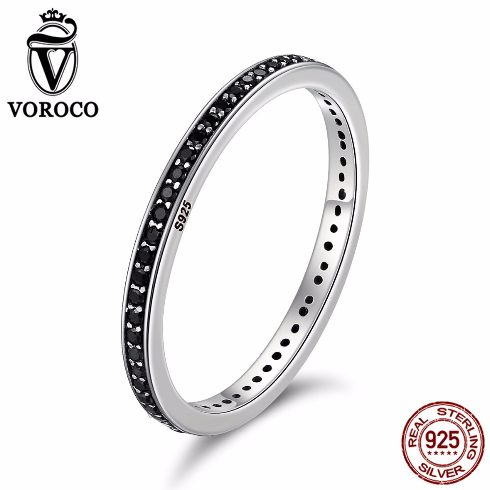 2018 Mother's Day DEALS Authentic 925 Sterling Silver 2 Colors Dazzling CZ Stackable Rings for Women Wedding Jewelry BKR114 image