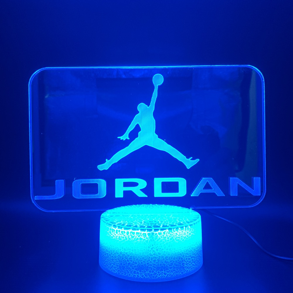 Led Night Light Bright Base Jordan Logo 3d Lamp Home Decor Color Changing Touch Sensor Light For Kids Child Boy Novelty Light