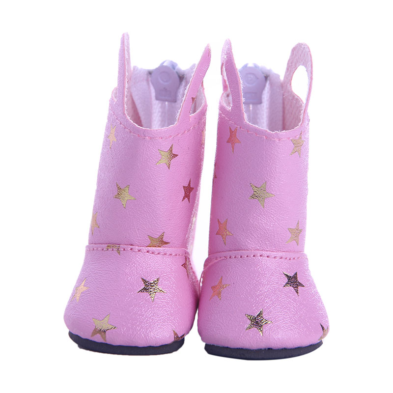 Doll Shoes Pink star boots for 14.5 inch American girl doll Wellie Wisher doll clothes