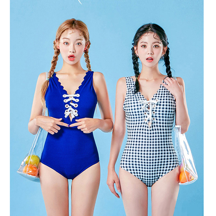 Swimwear One Piece Female Swim Suit Womens Wear One-Piece Swimsuit 2017 New Korean Bandage Halter Movement Maio Feminino Praia one