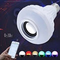 Sem fio bluetooth speaker + 12 w rgb e27 lâmpada led 100-240 v 110 V 220 V Luz Led Inteligente Music Player de Áudio com Controle Remoto controle