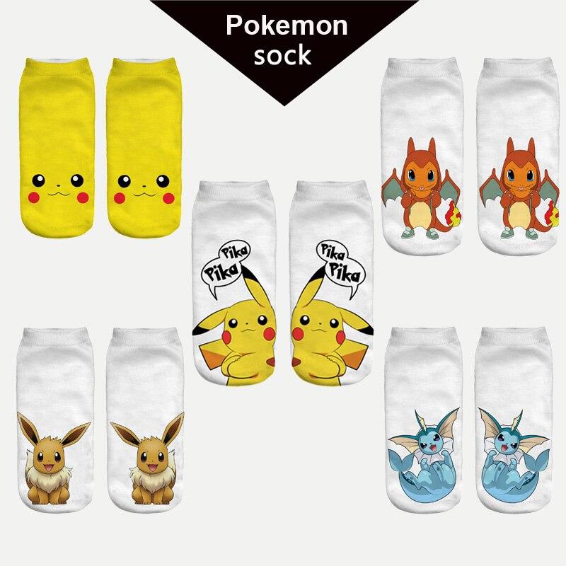 2016 nouvelle arrive harajuku pokemon chaussette 3d imprim de bande dessine femmes chaussettes de pikachu nouveaut