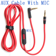 3.5mm Male to Male stereo audio AUX cable with Mic and pause controller for headphone headsets & car AUX