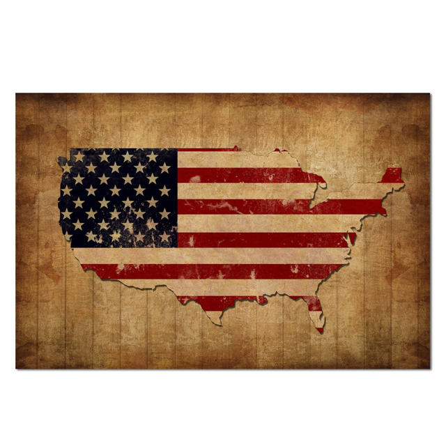 Vintage Usa Map With American Flag Canvas Prints Patriotic Decor - American-flag-us-map