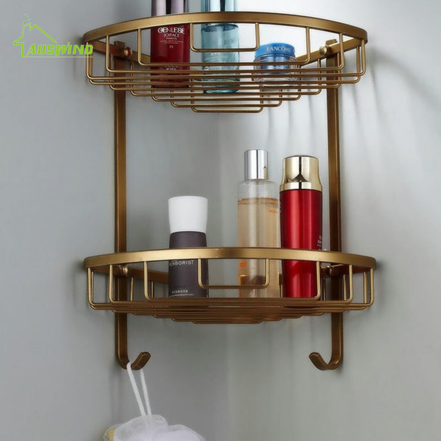 Space Aluminum Bathroom Shelf Antique Brass Double Layer Corner Shelf  Basket Bathroom Corner Shelf Bathroom Rack