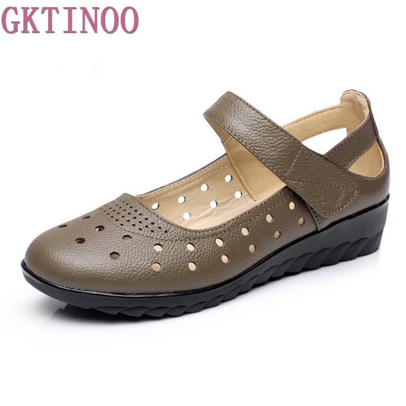 Summer Fashion Shoes Genuine Leather Ladies Sandals Women Cow Leather Hollow Wedges Woman Sandals Plus Size