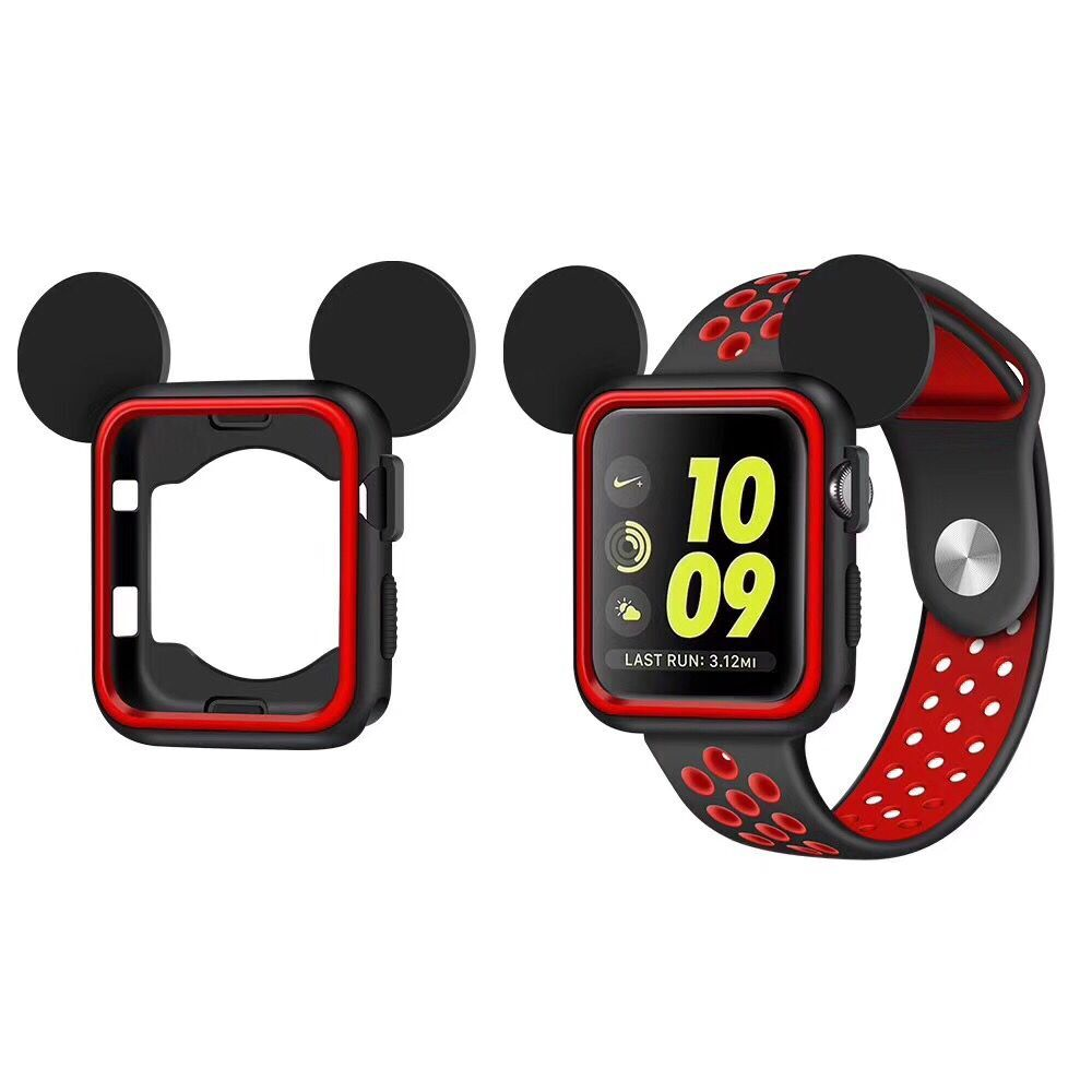 5 colors Cover Soft Rubber replacement Case For Apple Watch Silicone mickey cover Nike + For iwatch series 3/2/1 38mm 42mm series 1 2 3 soft silicone case for apple watch cover 38mm 42mm fashion plated tpu protective cover for iwatch