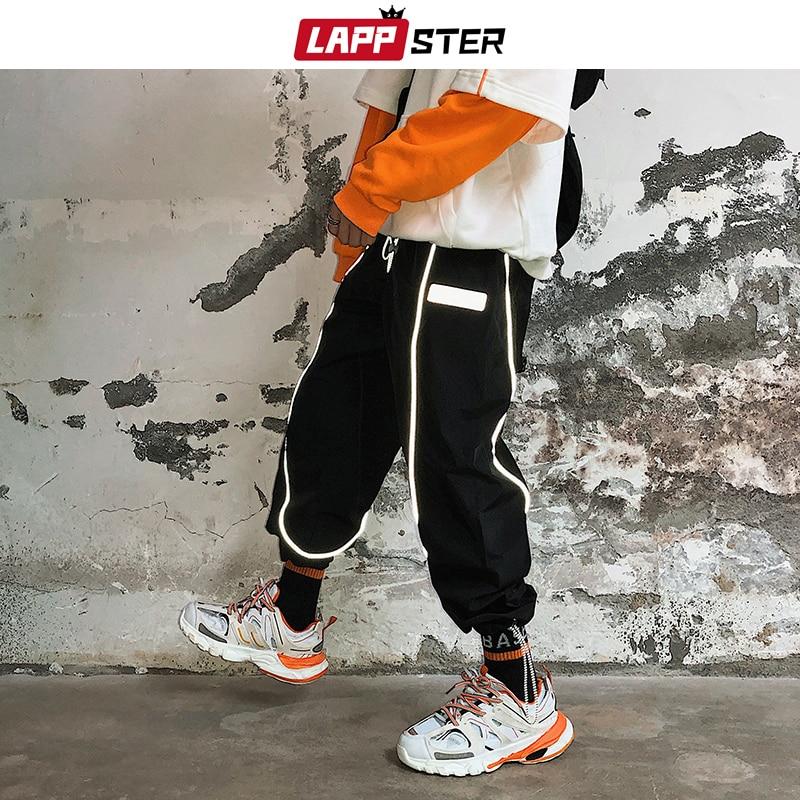 LAPPSTER Reflective Streetwear Cargo Pants 2020 Harem Pants Men Hip Hop Sweatpants Baggy Harajuku Korean Joggers Plus Size