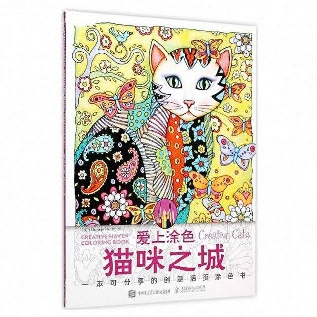 Us 15 6 10 Di Sconto Creativo Gatti Coloring Book Antistress Per Adulti Bambini Alleviare Lo Stress Di Arte Della Pittura Di Disegno Disegno