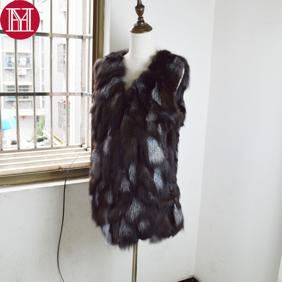 2017 hot sale women real fox fur vest fashion lady 100 natural silver fox fur coat