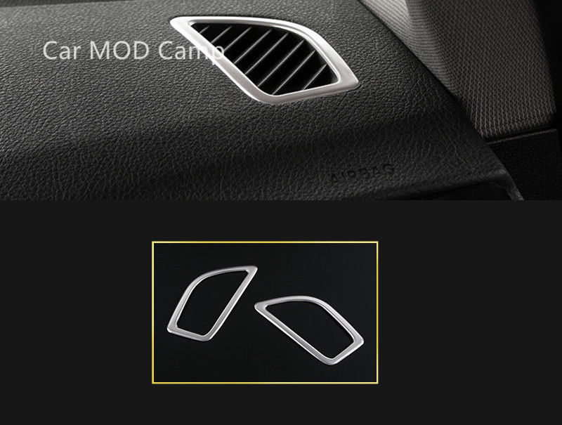 For BMW 1 Series F20 2012-2017 / BMW 2 Series Coupe F22 2014-2017 Stainless Steel Interior Upper Air Vent Outlet Cover Trim 2pcs f20 carbon fiber replace car mirror cover cap trim for bmw f20 auto styling 2012 2014