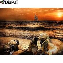 DIAPAI 5D DIY Diamond Painting 100% Full Square/Round Drill Sea lion sunset Diamond Embroidery Cross Stitch 3D Decor A21631 diapai diamond painting 5d diy 100% full square round drill animal lion diamond embroidery cross stitch 3d decor a24702