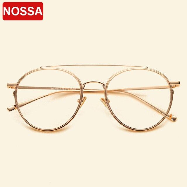 Gafas femeninas marca NOSSA con marco grande Retro marcos de Metal para anteojos para hombre y mujer, montura óptica para miopía, lentes transparentes, gafas casuales para estudiantes