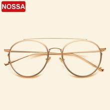 إطارات نظارات معدنية قديمة بإطار كبير من ماركة NOSSA للرجال والنساء إطار بصري لقصر النظر عدسات شفافة نظارات غير رسمية نظارات للطلاب
