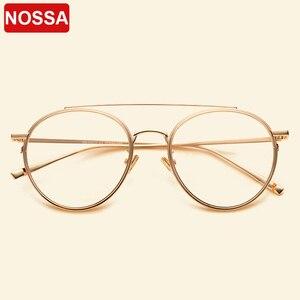 Image 1 - NOSSA ブランドビッグフレームレトロ金属メガネフレーム男性女性近視光学フレームクリアレンズカジュアル眼鏡学生眼鏡