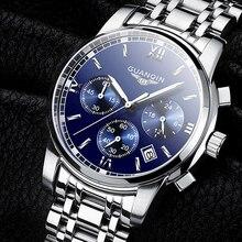 レロジオ masculino GUANQIN メンズ腕時計トップブランドの高級ファッションビジネスクォーツ時計男性スポーツフルスチール防水腕時計