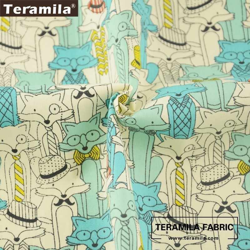 Teramila Fabric 100% Cotton Green Twill Material Bed Sheet Bedding Texitle Printed Cartoon Foxes Design Patchwork Set Crafts