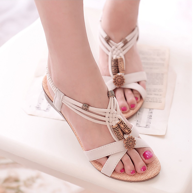 2018 Women Sandals Summer Fashion White Beach Shoes Flat Heel Flip Gladiator Flop