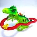 Pistas eléctricas escalan juguetes de dinosaurios brillantes con animales de sonido juguetes de modelo para niños juguetes interactivos