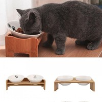 Pets Double Bowl Dog Cat Food Water Feeder Stand Raised Ceramic Dish Bowl Wooden Table Pet Supplies