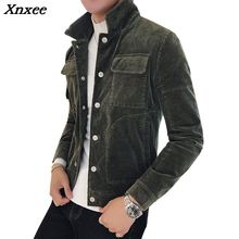 Corduroy Jackets Mens Bomber Jackets Army Green Casacas Para Hombre Slim Fit Vintage Winter Jacket Mens Brown Retro Ceket Autumn new ladies autumn corduroy retro jacket