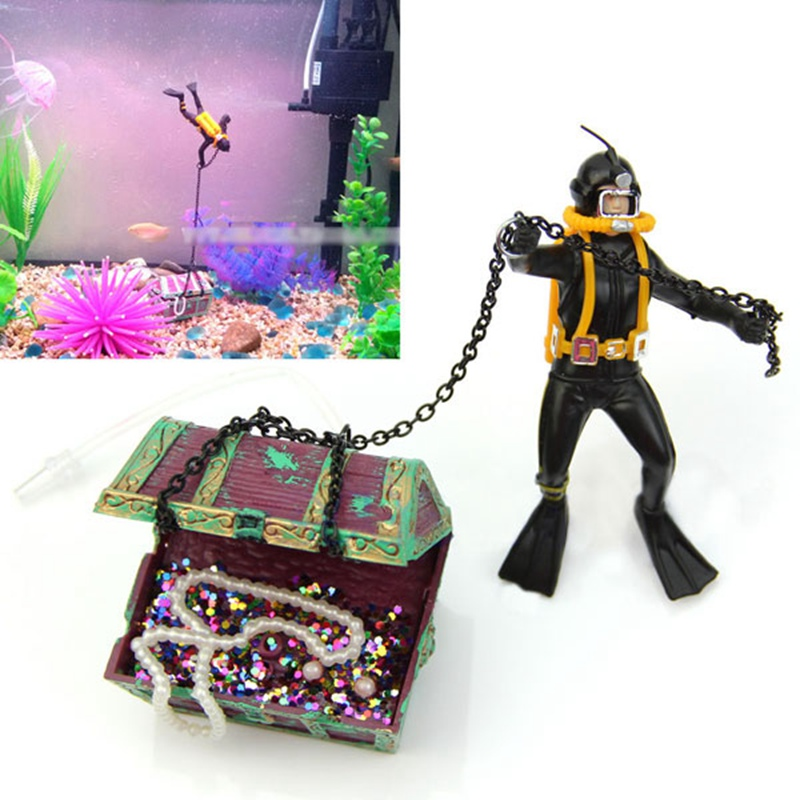 Mayitr 2017 Air Action Diver Hunter Treasure Chest Decor Aquarium Decoration Underwater Landscape Ornaments