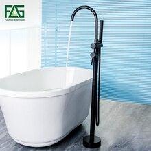 FLG Standing Bath Spout Shower Floor Mount Shower set Mixer Valve 2 Function  Black Bathtub Filler Mixer Taps цена и фото