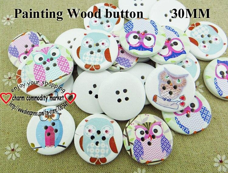 ᗖ100 unids serie búho pintura botones de madera 30 MM camisa del ...