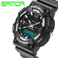 SANDA Waterproof Shockproof Mens Sport Quartz Watch Led Digital Dual Time Zone Military Outdoor S Shock Wristwatch With Gift Box