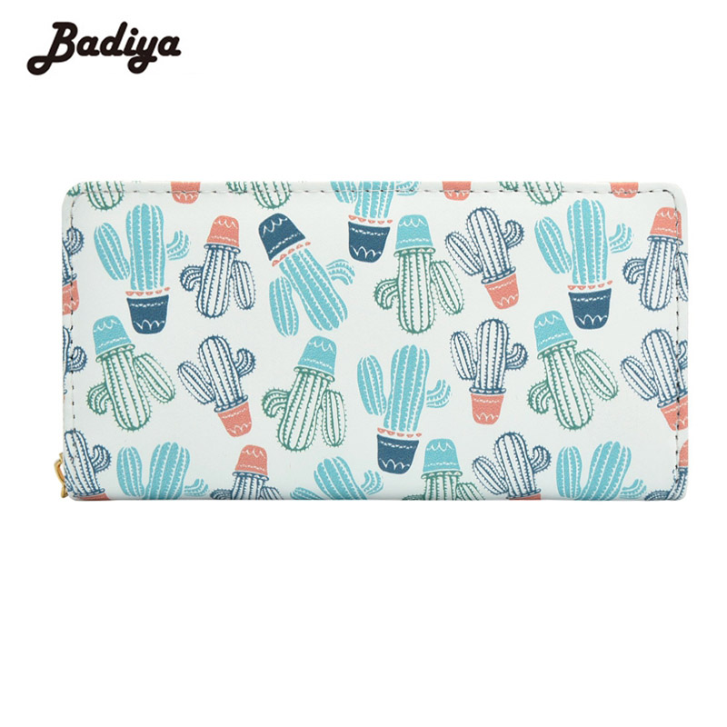 Women Wallet Pu Leather Large Capacity Print Cactus Card Holders Ladies Long Style Zipper Wallets Women's Clutch 240 cards large capacity pu leather business card holder card collection book 1493