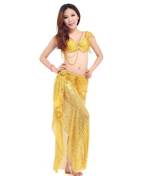 Costume de danse du ventre (soutien-gorge Bellydance + jupes brillantes) Costumes de danse Bollywood 8 couleurs danse porter robe de soirée Tribal